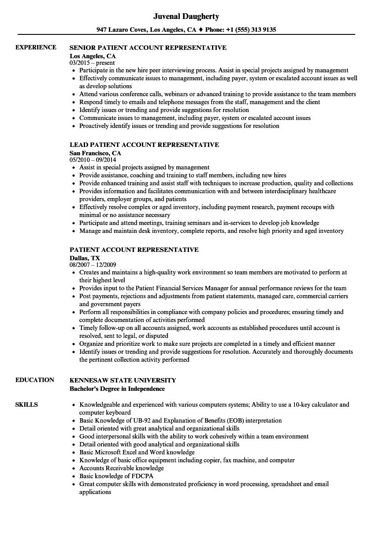 sample resume for patient service representative