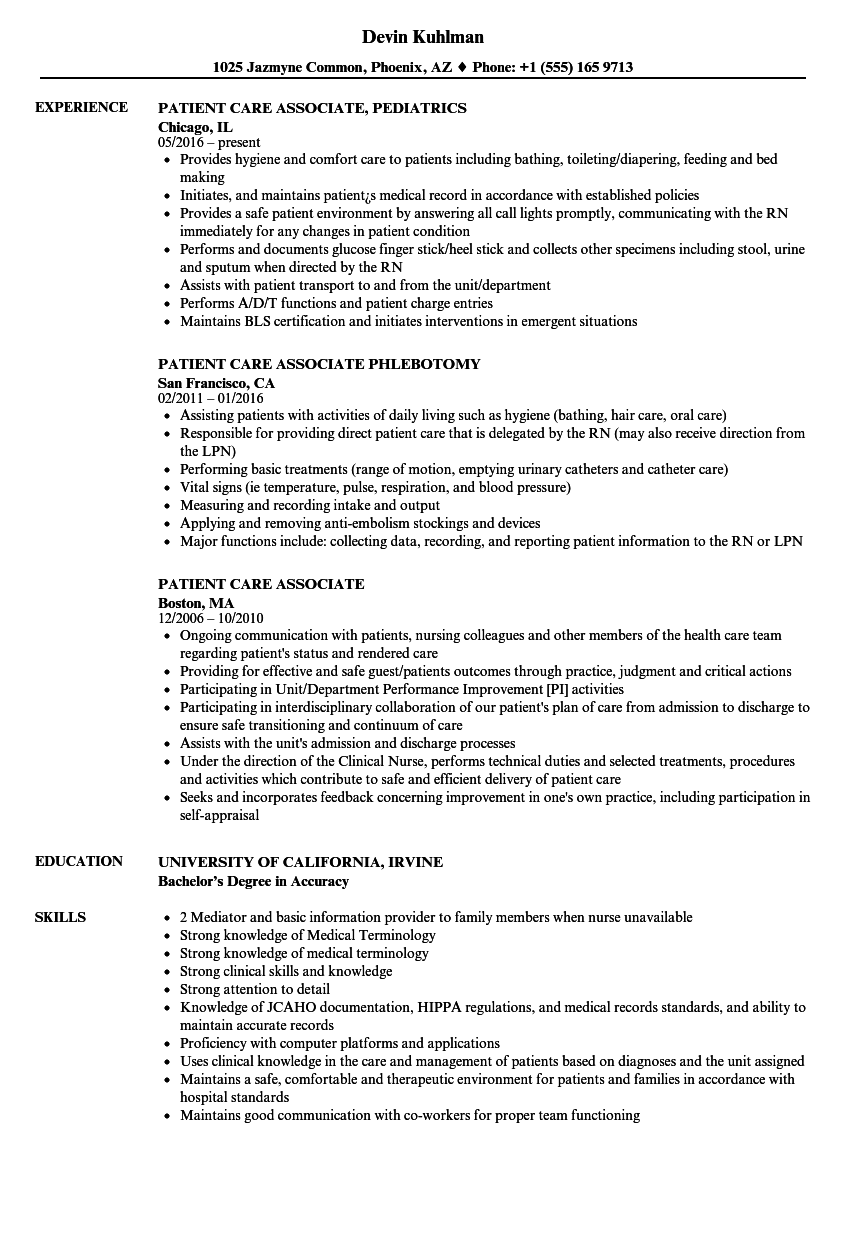 Download Patient Care Associate Resume Sample As Image File