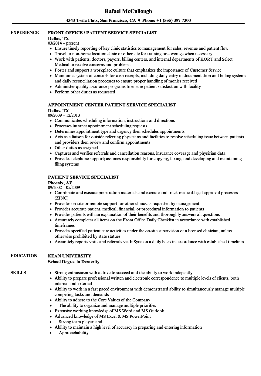 Patient Service Specialist Resume Samples Velvet Jobs
