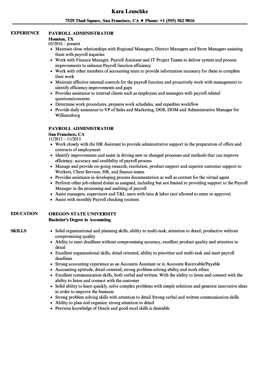 Payroll Administrator Resume Samples Velvet Jobs