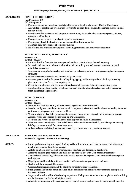 pc support technician sample resume