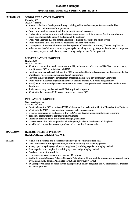 sample resume pcb design engineer pdf