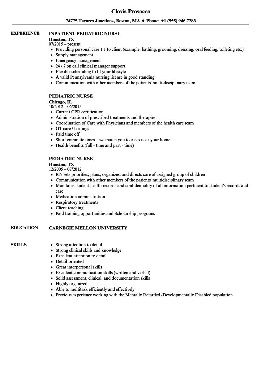 pediatric nurse resume examples