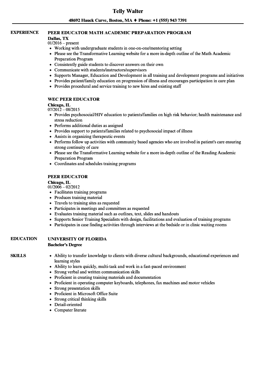 Peer Educator Resume Samples Velvet Jobs