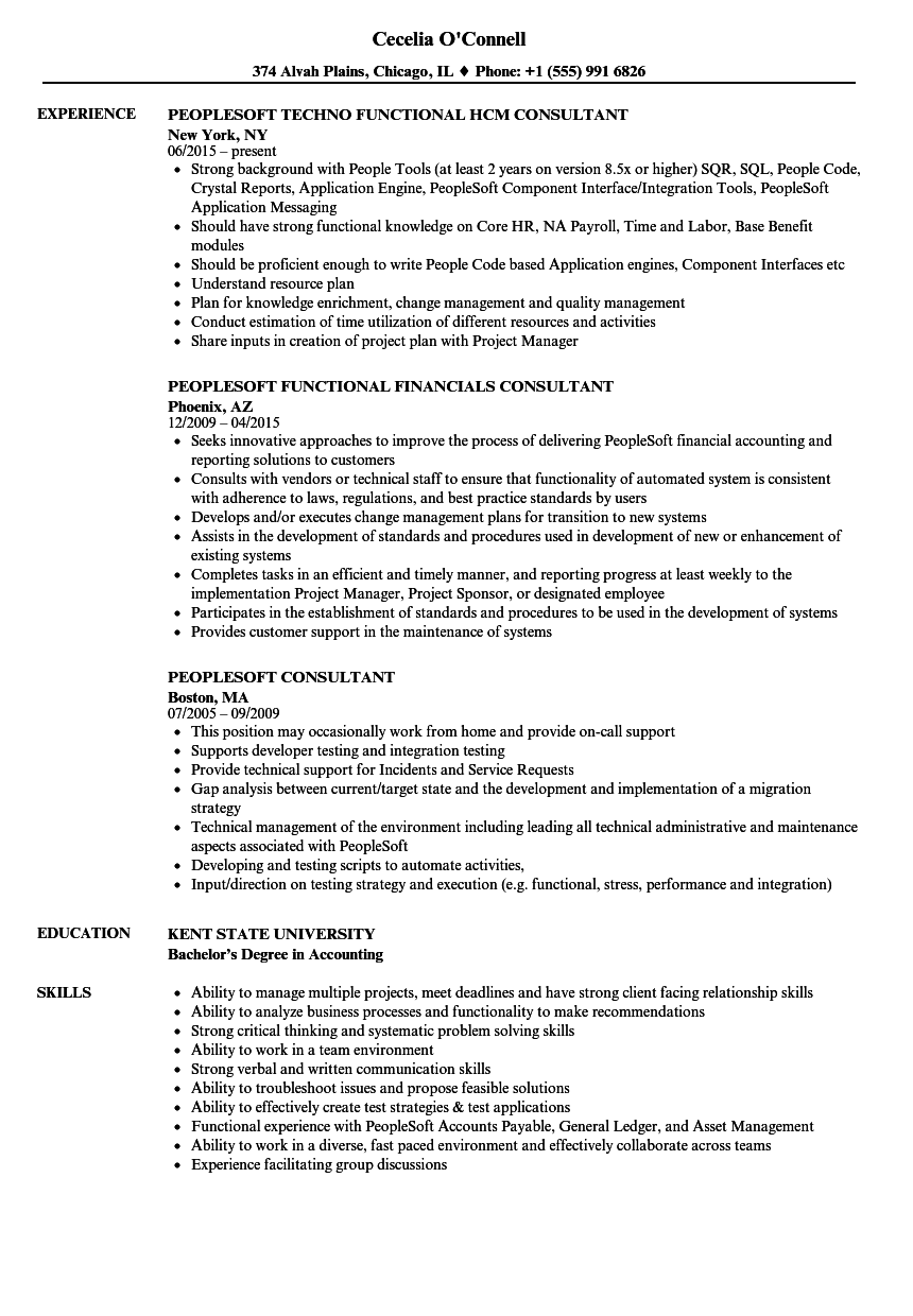 sample functional consultant resume