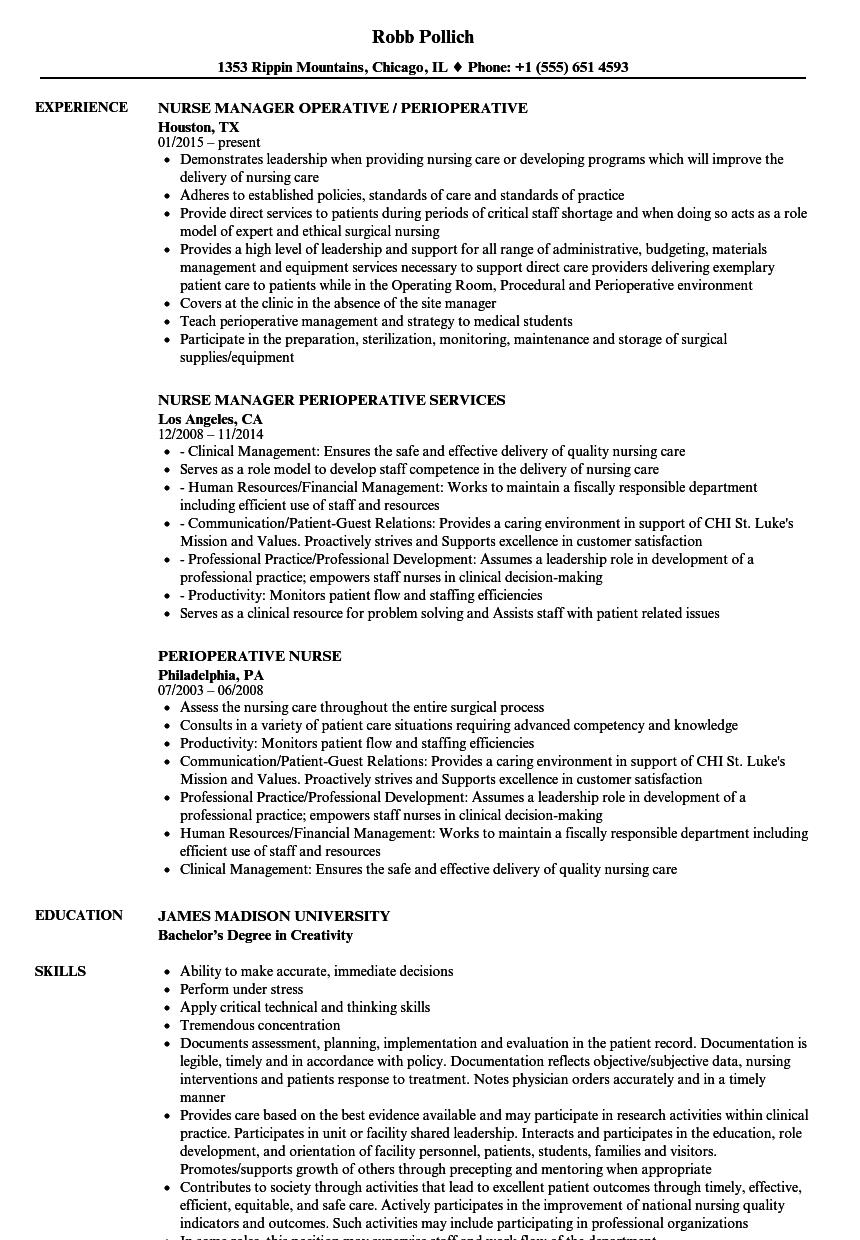 Perioperative Nurse Resume Samples Velvet Jobs