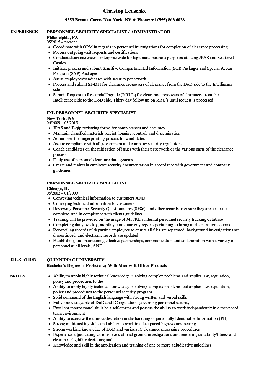 homeland security resume examples