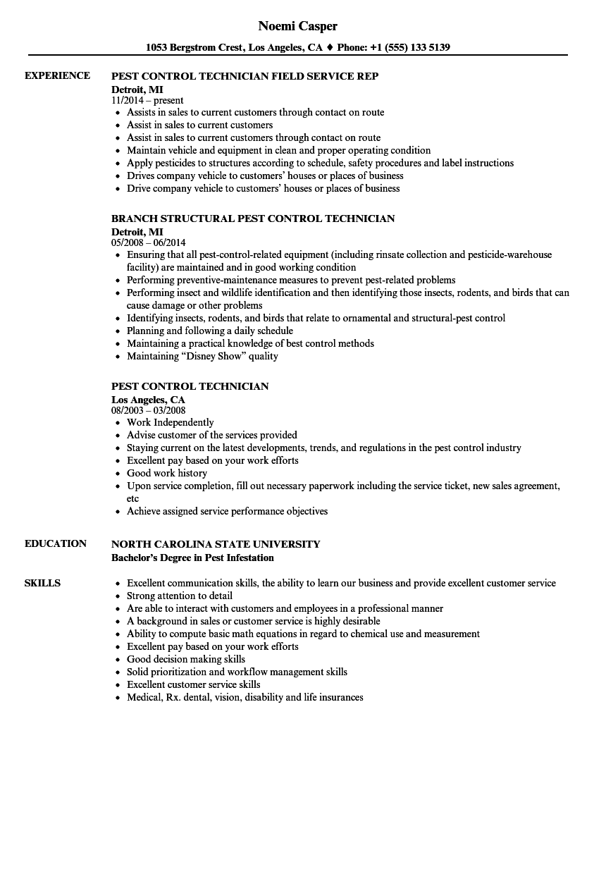 pest and termite technician resume examples