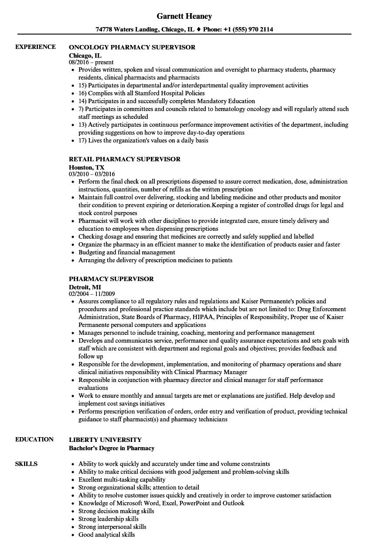 pharmacy resume sample