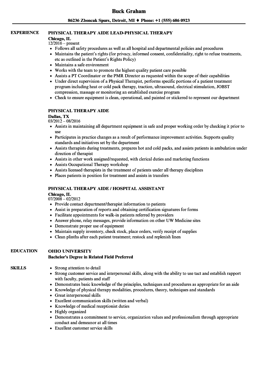 Physical Therapy Aide Resume Samples Velvet Jobs