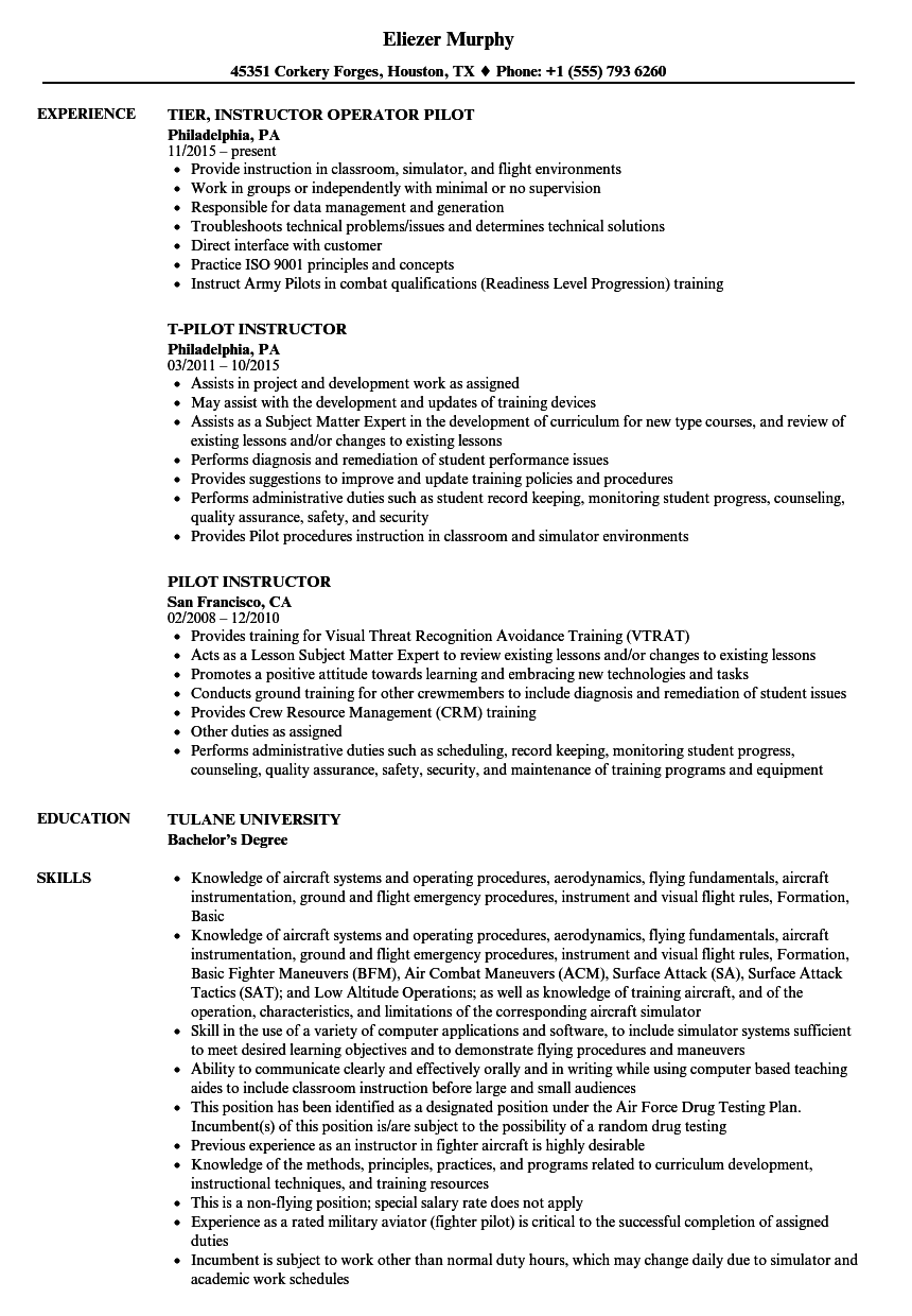 Pilot Instructor Resume Samples Velvet Jobs