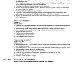 download piping design engineer resume sample as image file [ 860 x 1240 Pixel ]