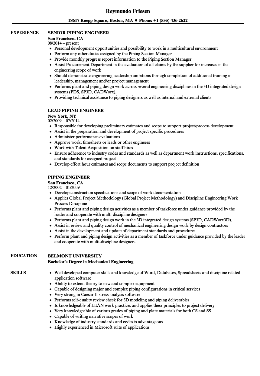 hight resolution of mechanical piping engineer resume