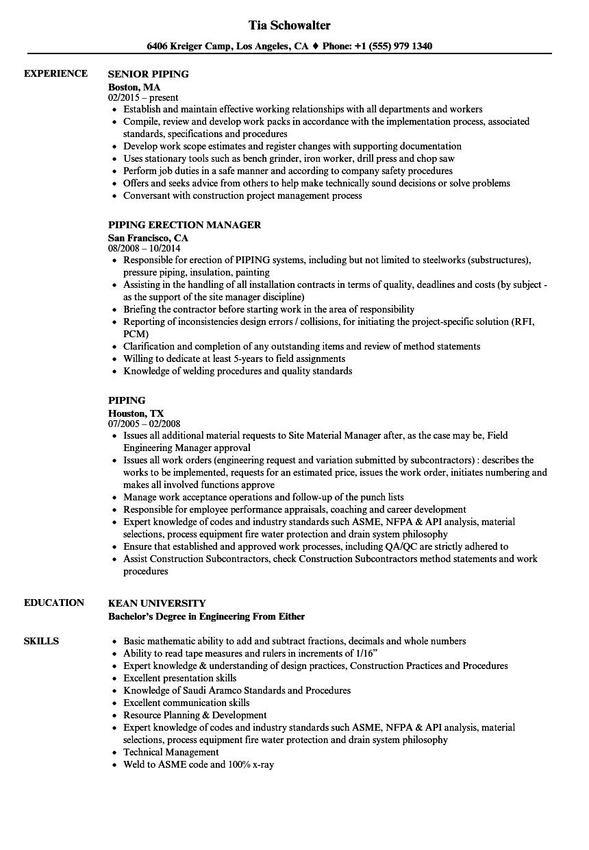 Piping Resume Samples Velvet Jobs