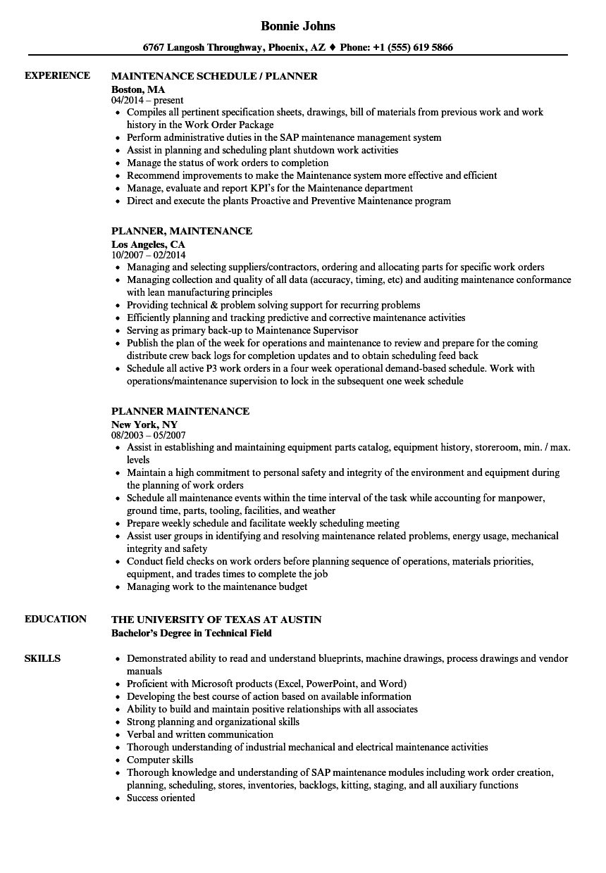 occupancy planner resume example
