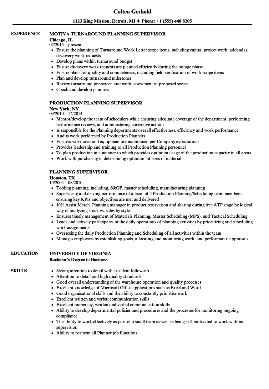 Supervisor Resume Example - Examples of Resumes