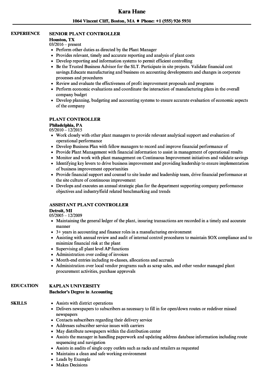 Plant Controller Resume Samples Velvet Jobs