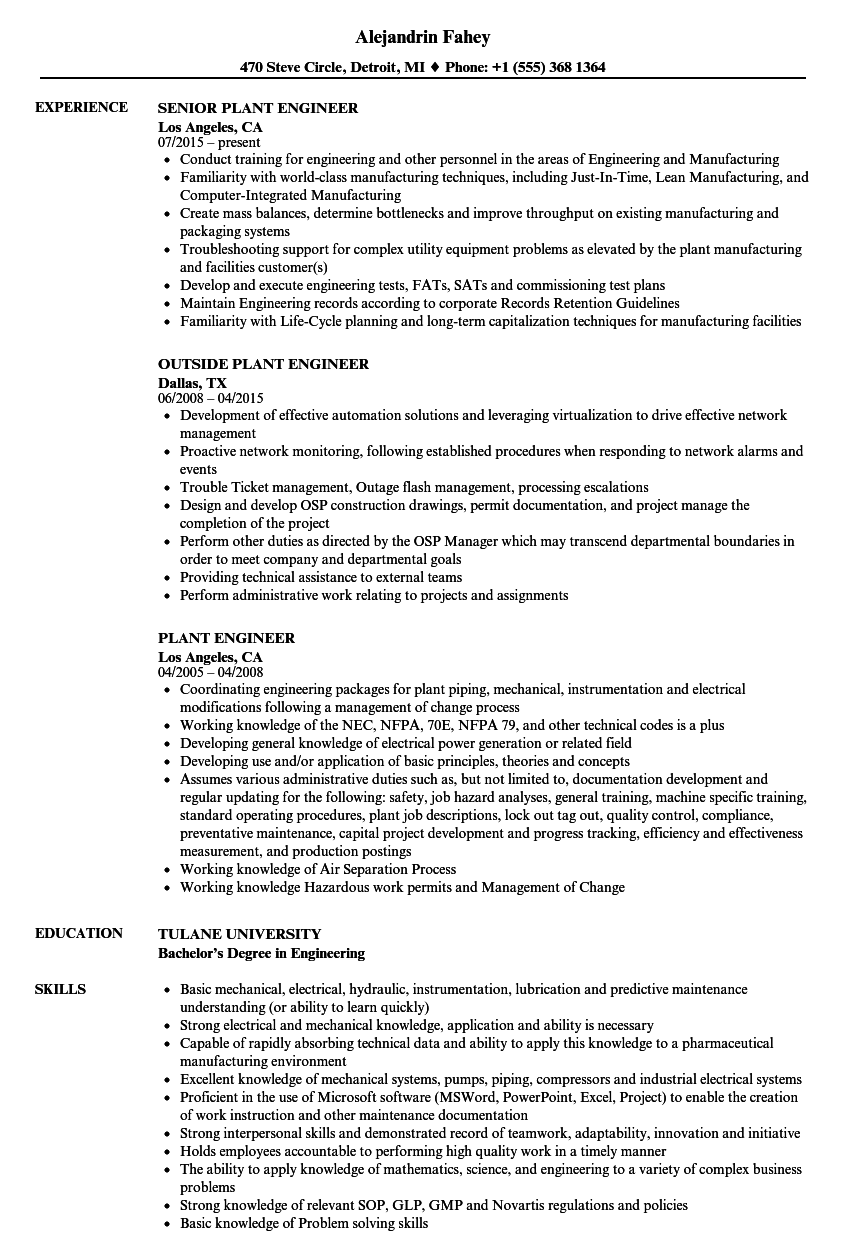 plant engineer resume examples