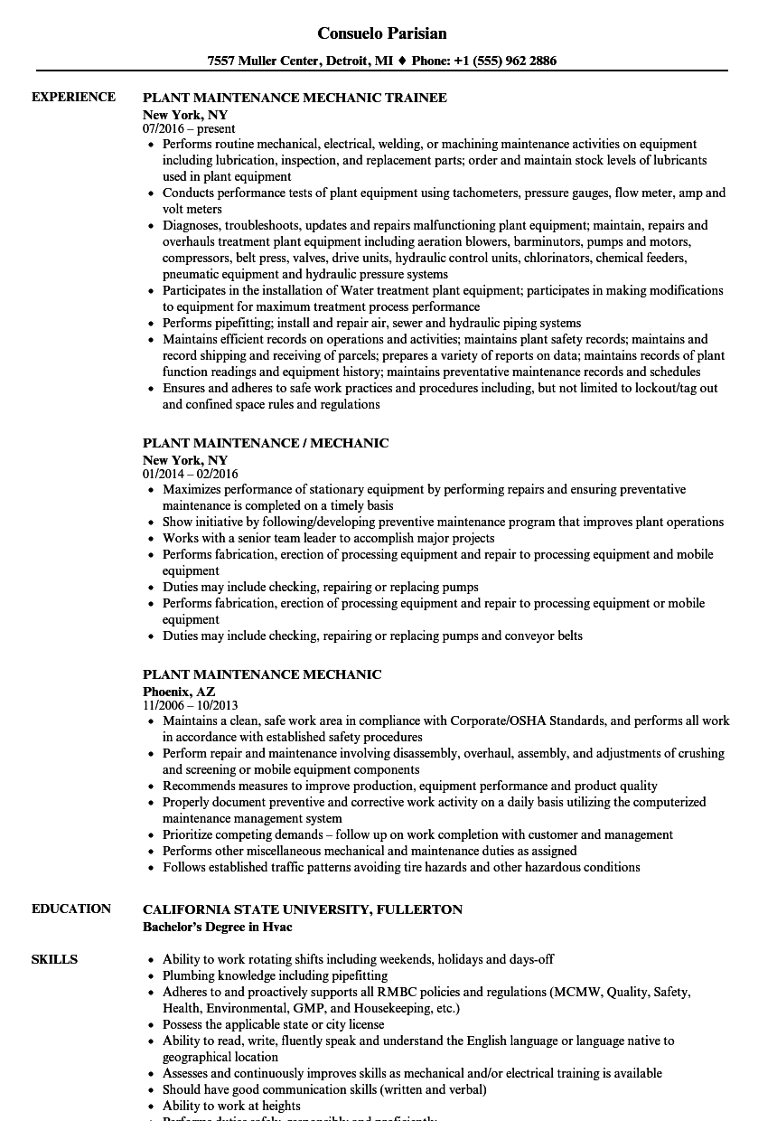 Plant Maintenance Mechanic Resume Samples Velvet Jobs
