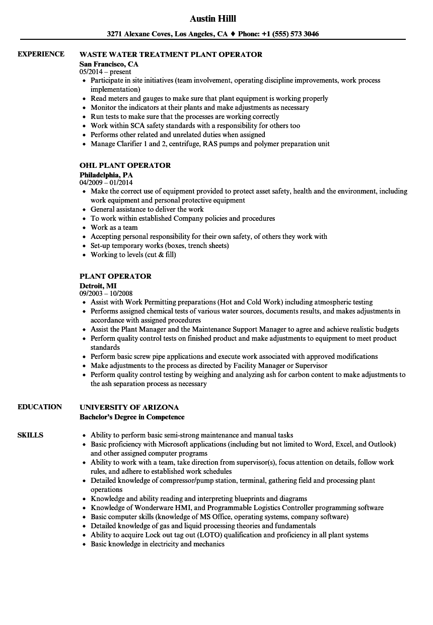 Plant Operator Resume Samples Velvet Jobs