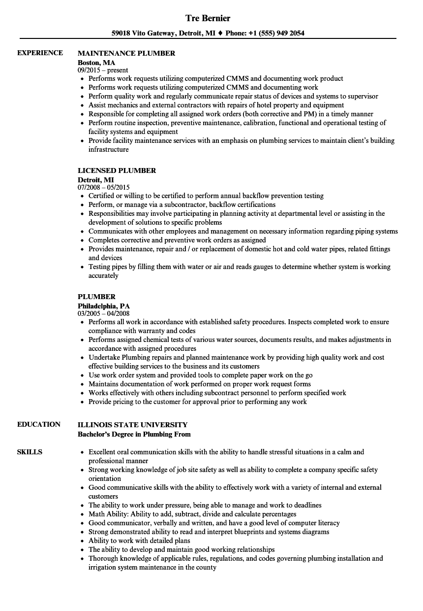 Plumber Resume Samples Velvet Jobs