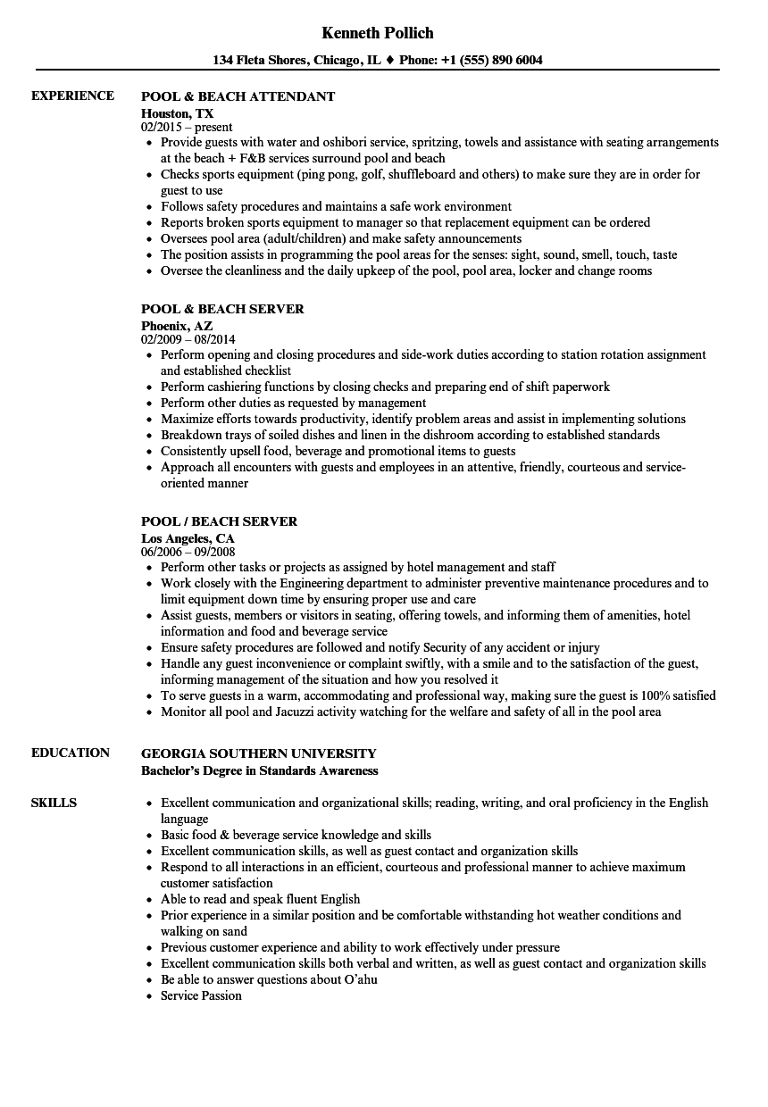 food and beverage supervisor resume examples