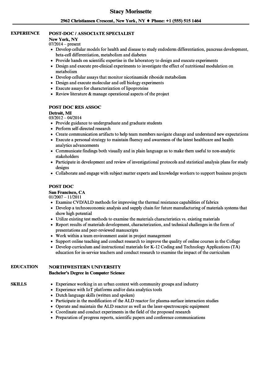 Postdoc Resume Samples  Velvet Jobs