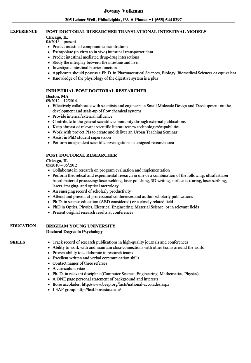 ux researcher resume template