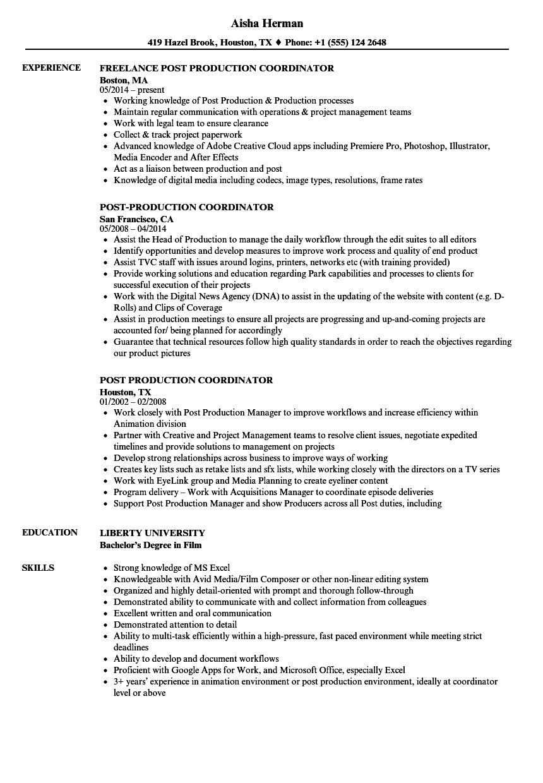 Post Production Coordinator Resume Samples Velvet Jobs