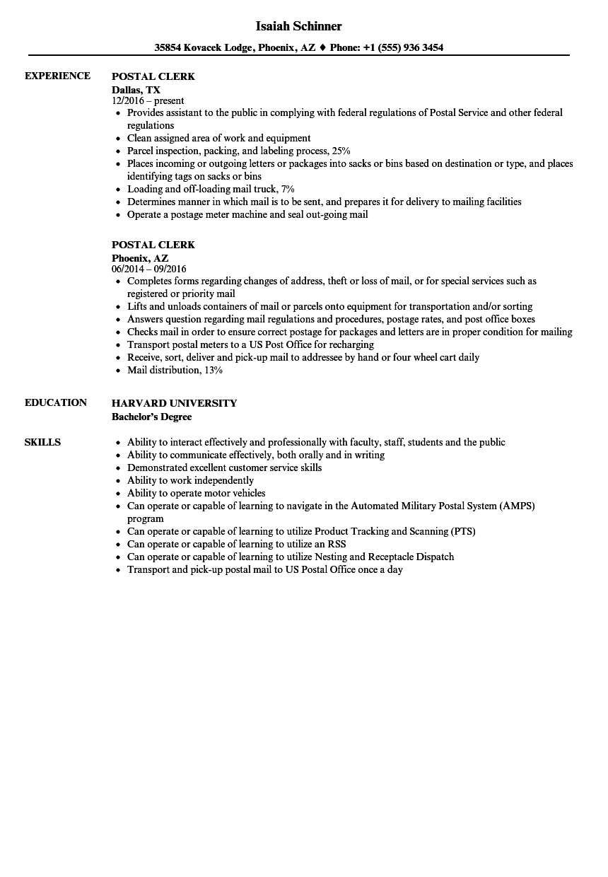 Postal Clerk Resume Samples Velvet Jobs