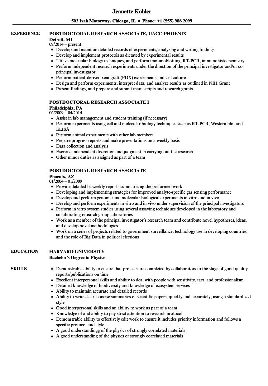 postdoctoral fellow resume sample