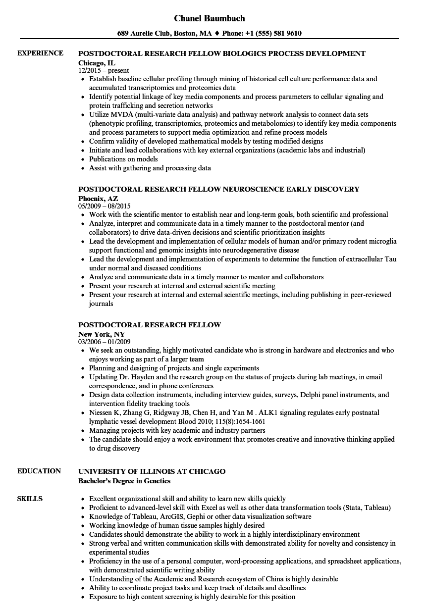 Postdoctoral Research Fellow Resume Samples Velvet Jobs
