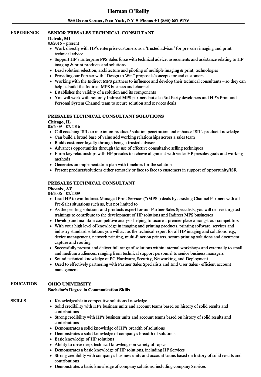Presales Technical Consultant Resume Samples Velvet Jobs