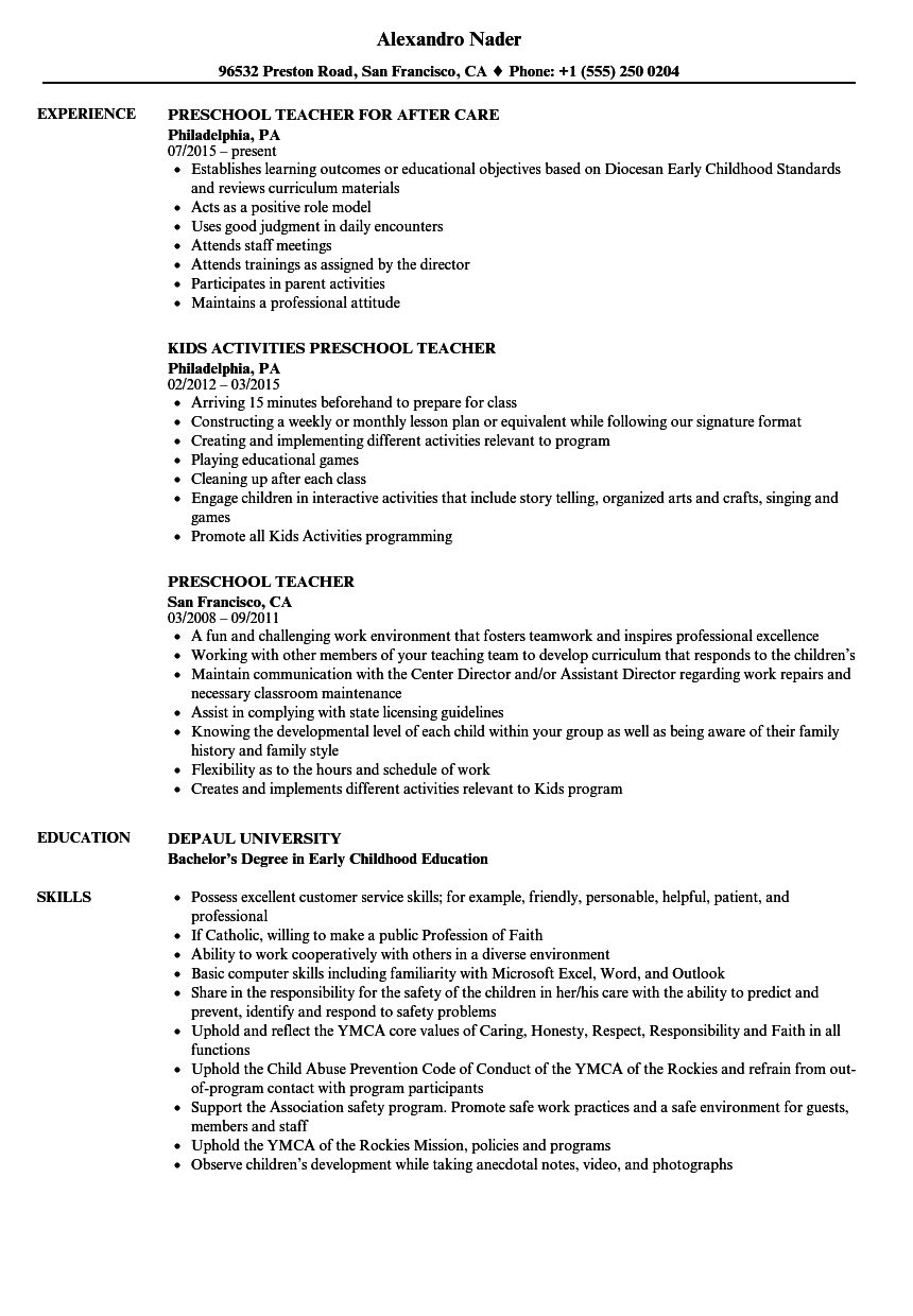 preschool assistant director resume sample