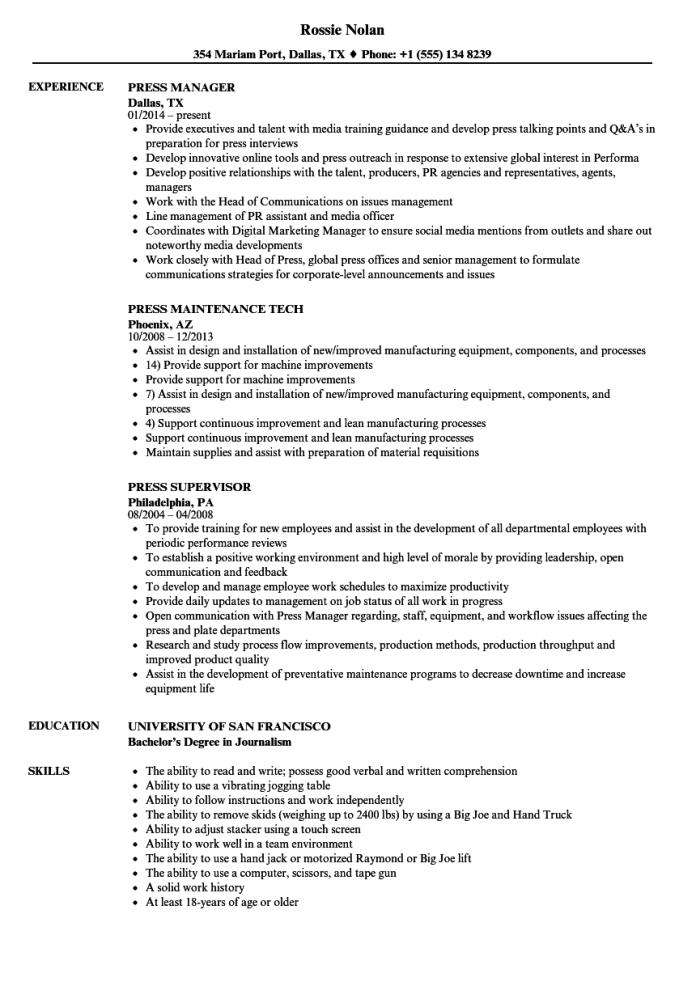 Press Resume Samples Velvet Jobs
