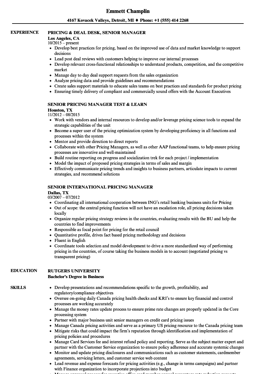 pricing manager resume sample
