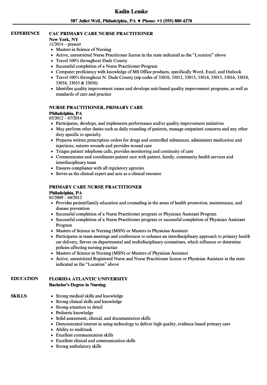Primary Care Nurse Practitioner Resume Samples Velvet Jobs