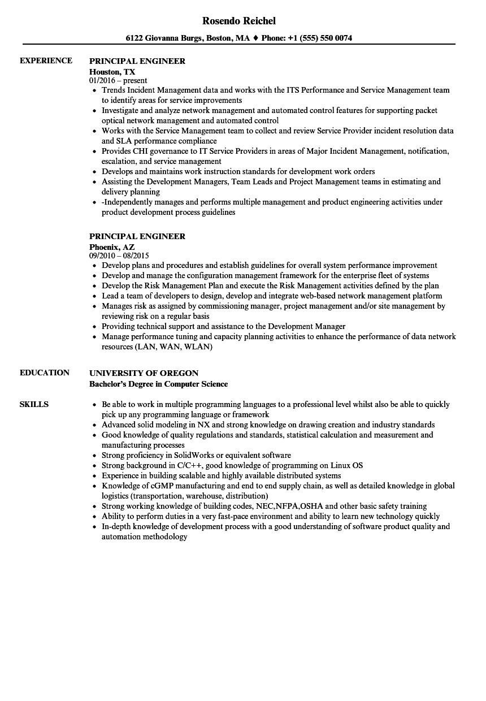 principal engineer resume examples