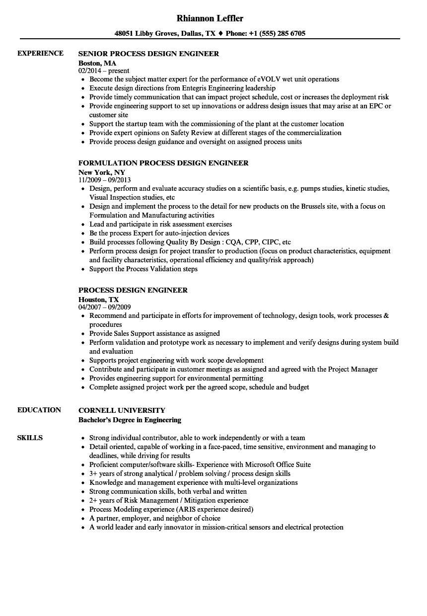 Process Design Engineer Resume Samples Velvet Jobs