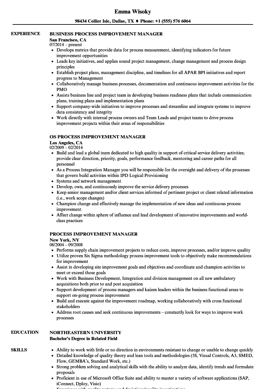 Download Process Improvement Manager Resume Sample As Image File