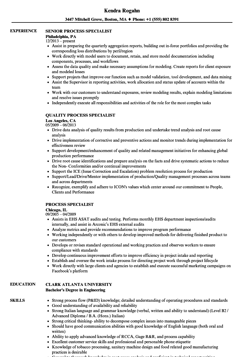 Process Specialist Resume Samples Velvet Jobs