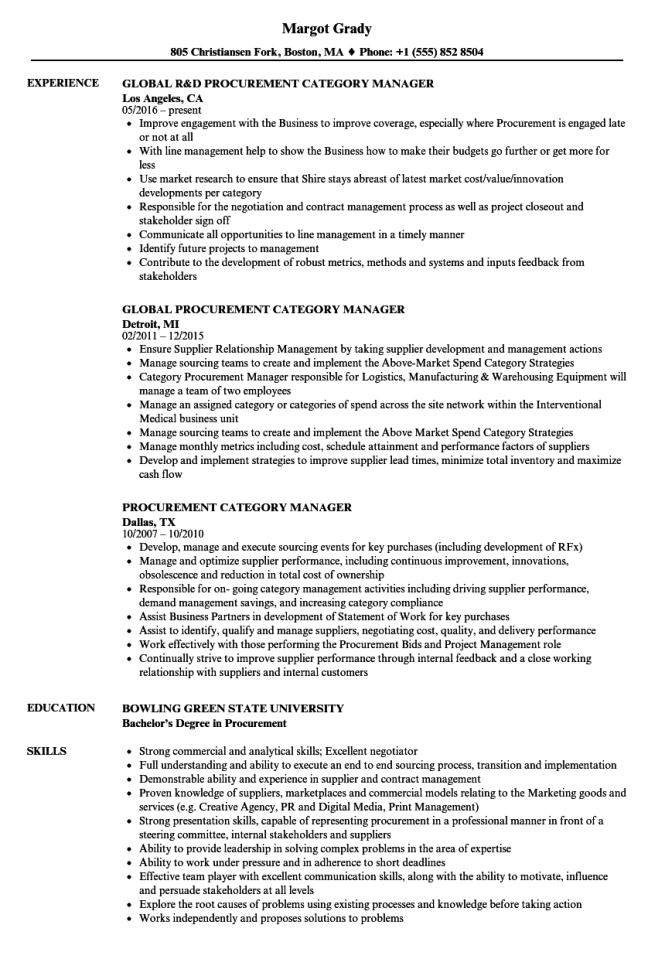 Procurement Category Manager Resume Samples Velvet Jobs