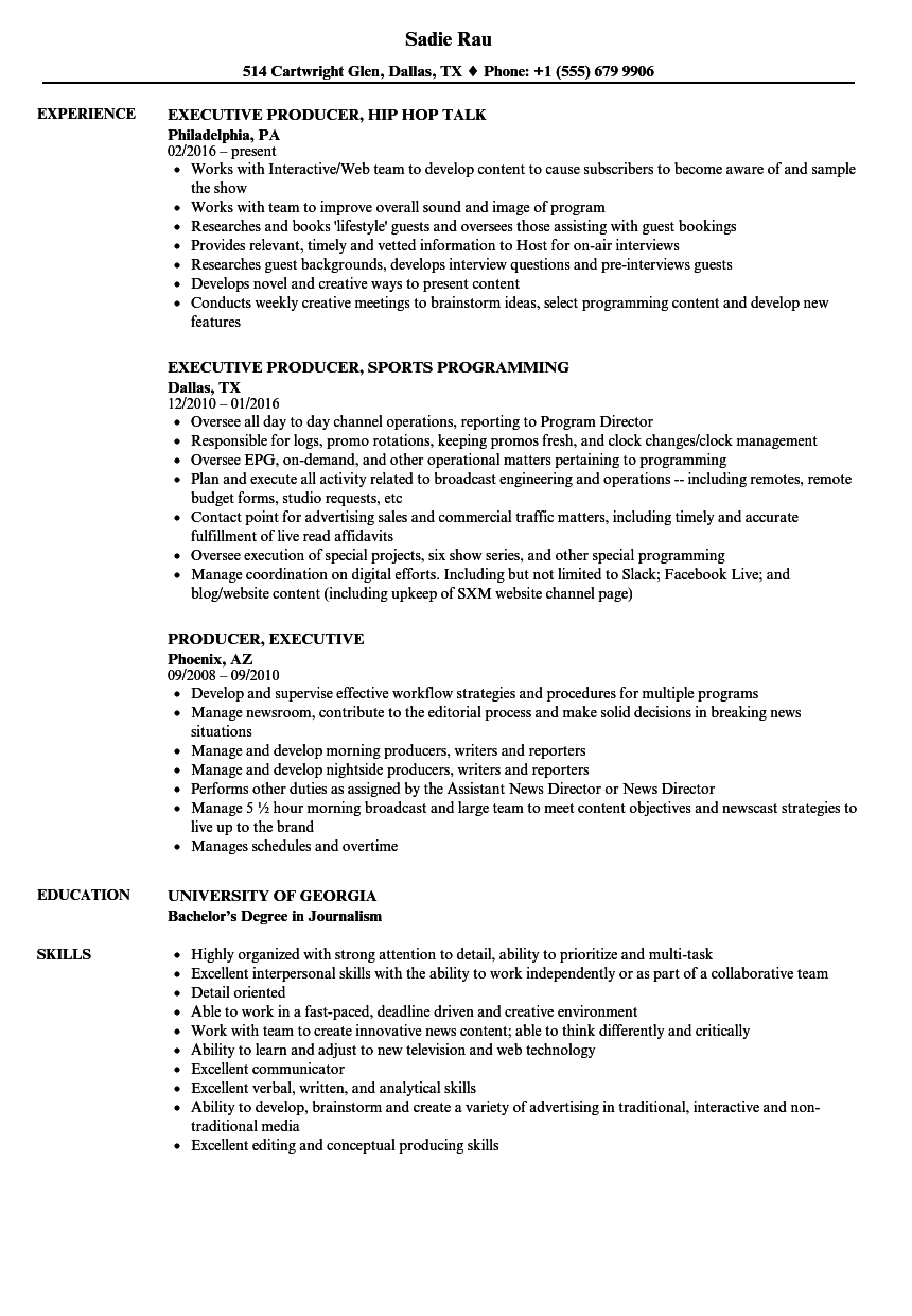 field producer resume examples