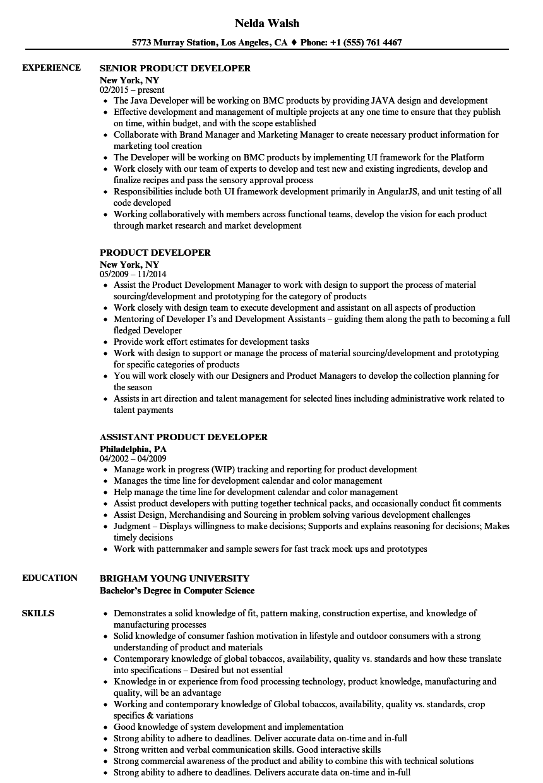 rf product development resume sample