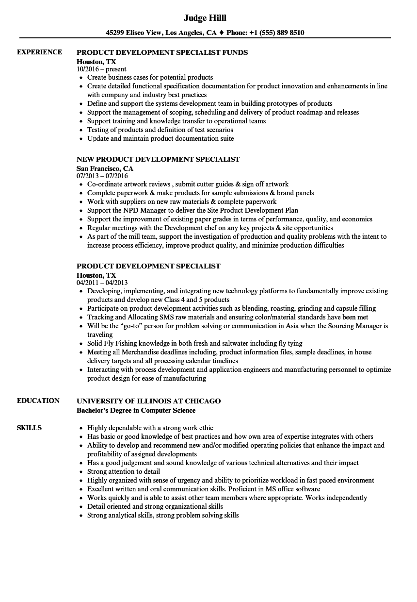 Product Development Specialist Resume Samples Velvet Jobs