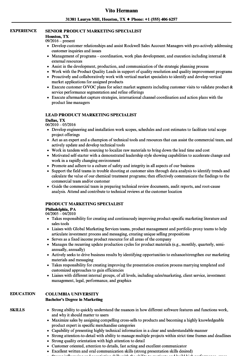 product marketing specialist resume samples