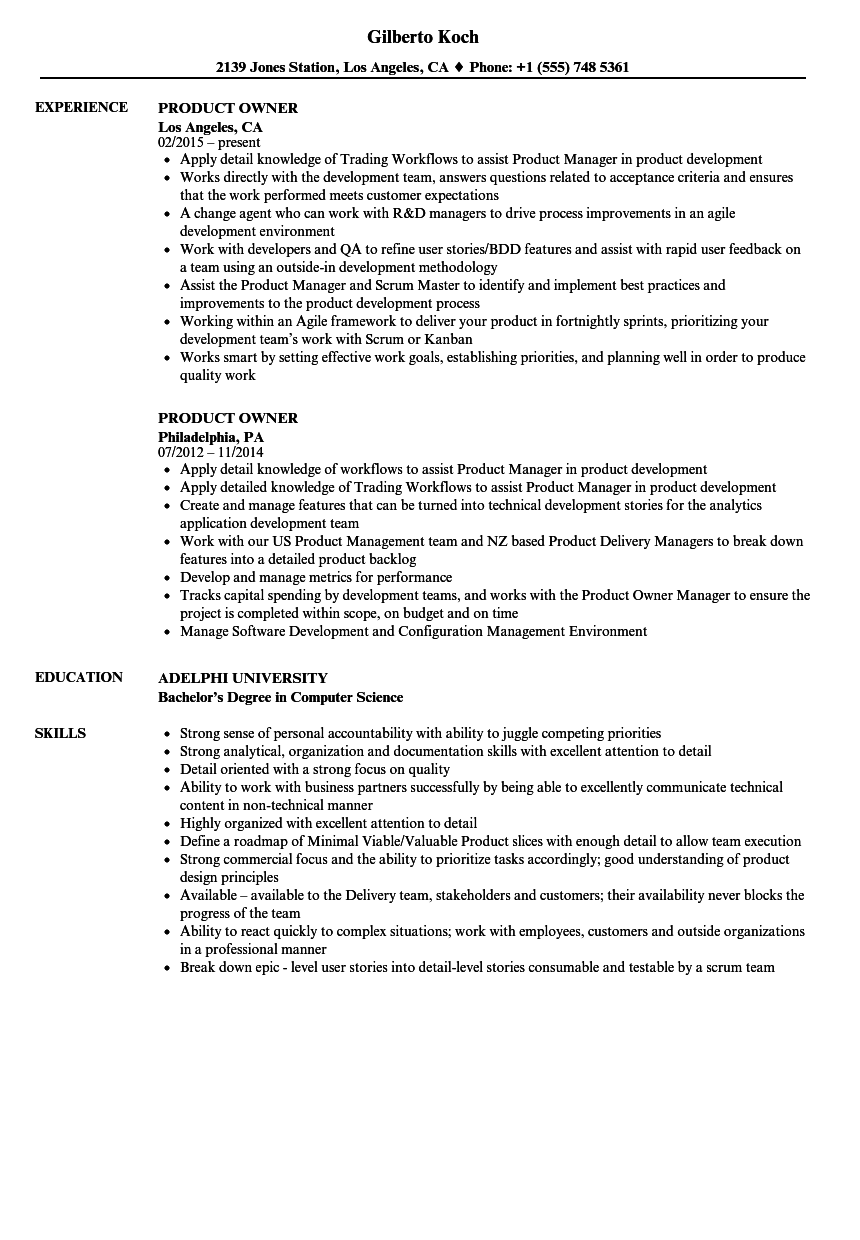 Product Owner Resume Samples Velvet Jobs