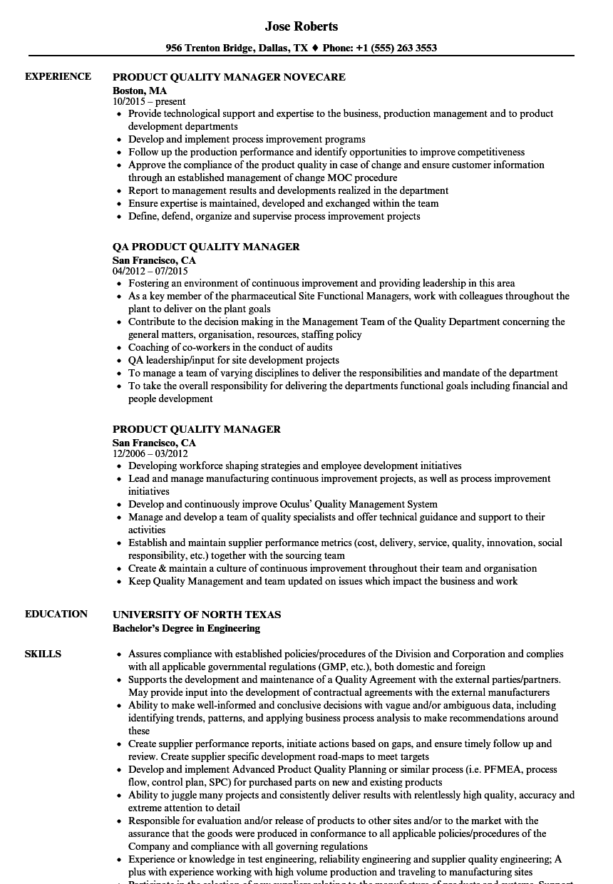 Sample Resume Quality Manager