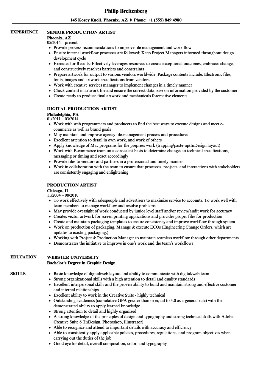 production manager resume sample pdf