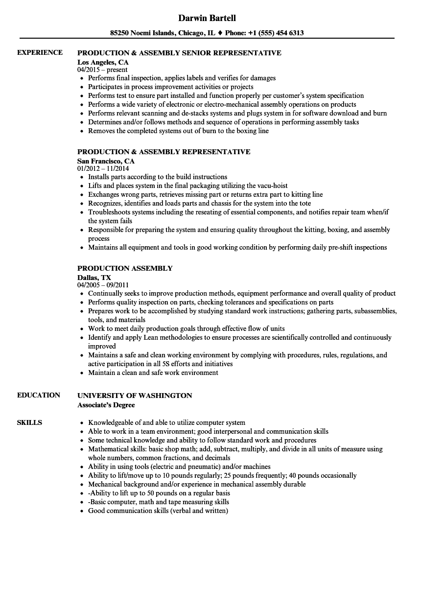 Production Assembly Resume Samples Velvet Jobs